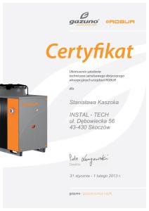 Certyfikat Gazuno Serwis Instal - Tech